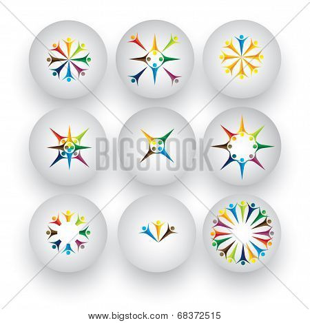 People In Circle, Children, Kids, Employees Vector Icons