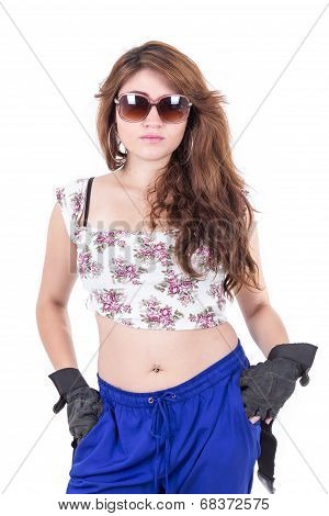 half length portrait of beautiful young girl wearing sunglasses