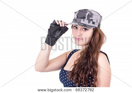 beautiful sporty young girl wearing cap