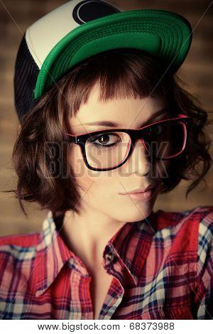 Trendy beautiful young model. Education.