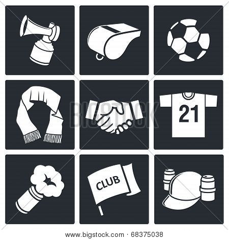 Attributes Soccer fan icon collection