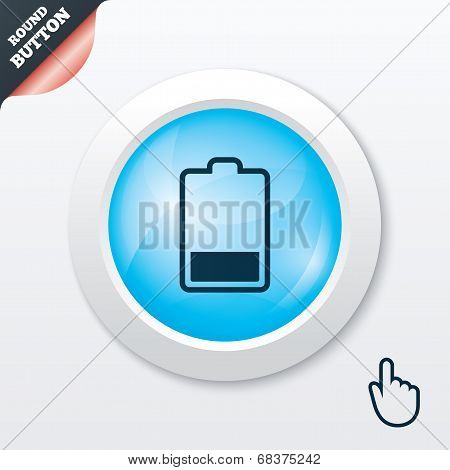 Battery low level sign icon. Electricity symbol