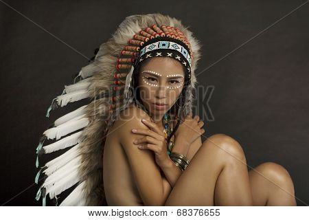 Girl in Native American Indian Headdress