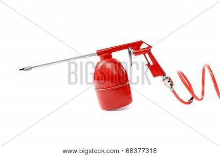 Spray gun with plastic spring.