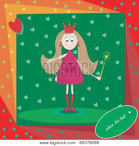 Illustration of little princess with magic wand and hearts