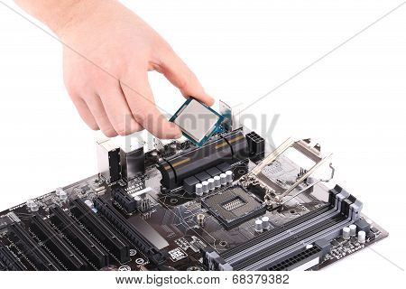 Desktop motherboard with CPU.