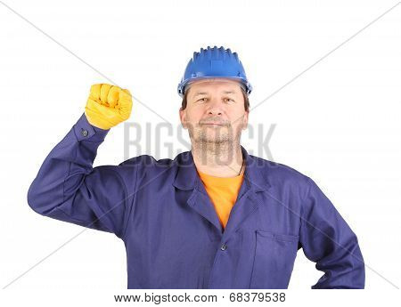 Worker with clenched fist.