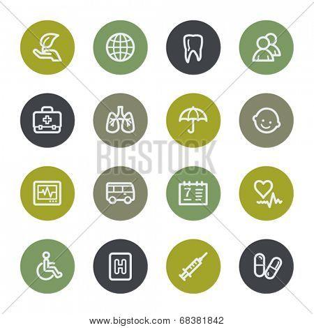 Medicine web icons set, color buttons