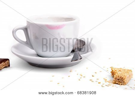 Trace Of Lipstick On A White Cup