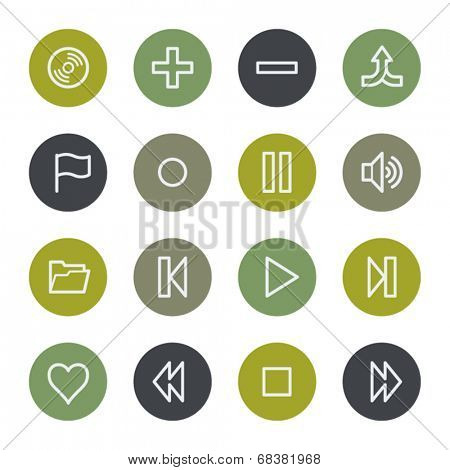 Media player web icons set, color buttons
