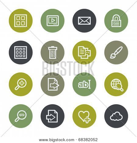 Image collection web icons set, color buttons
