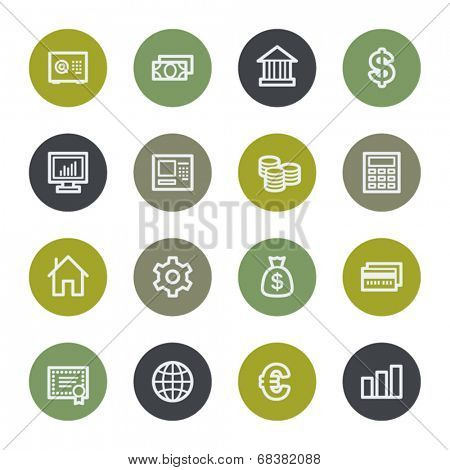 Money web icons set, color buttons
