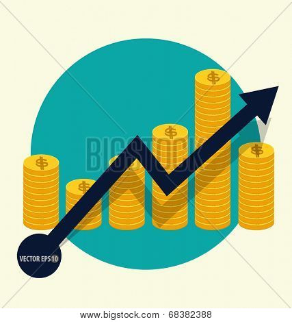 Financial success concept. Coin bar graph business infographic. Vector illustration.