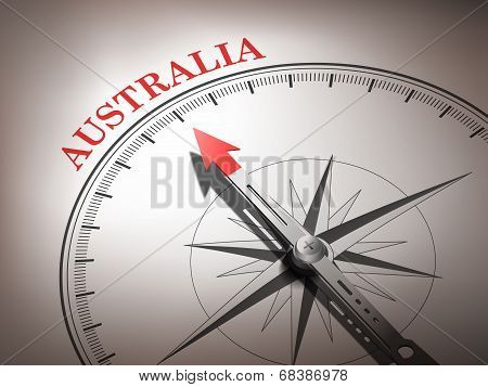 Abstract Compass Needle Pointing The Destination Australia