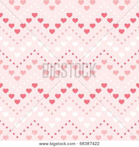 Retro Seamless Geometric Pattern. Color Hearts And Dots On Pink Textured Background