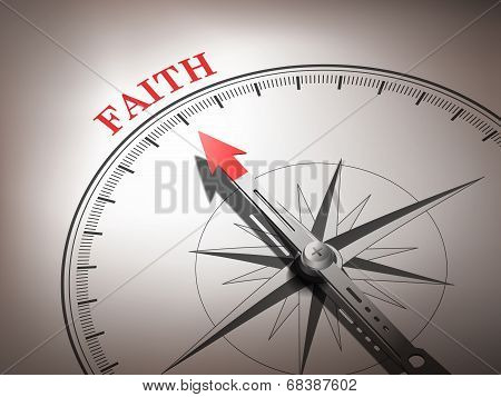 Abstract Compass With Needle Pointing The Word Faith