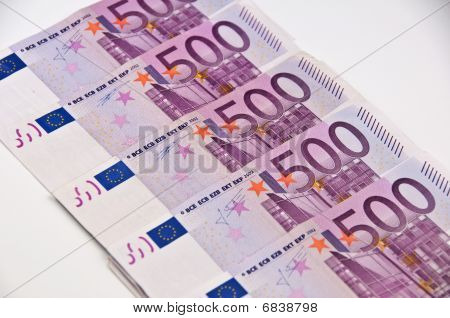 500 Euro Money On A White Background