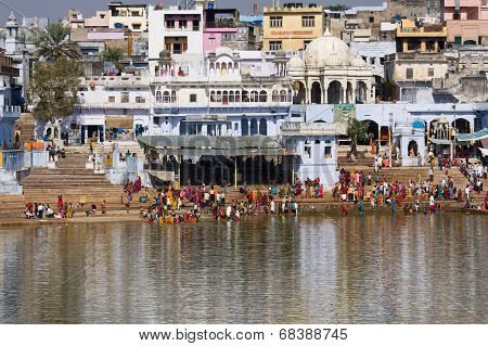 Holy Lake In Pushkar, India.