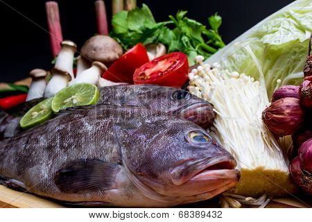 Fish and ingredients of Thai spicy food, Tom Yum.