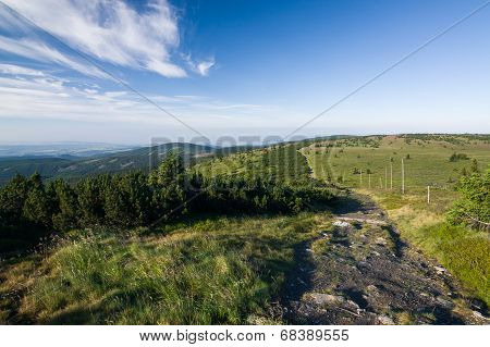 Amazing Summer Mountain Countryside With Blue Sky And Clouds