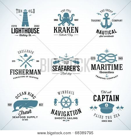Set of Vintage Nautical Labels and Signs With Retro Typography Anchors Steering Wheel Knots Seagulls