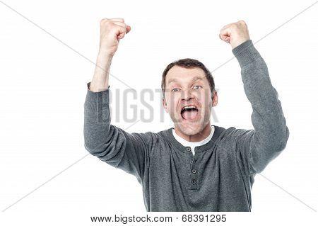 Casual Man Winning And Celebrating