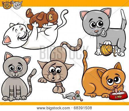 Happy Cats Cartoon Illustration Set