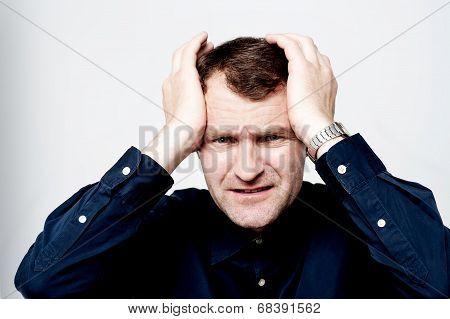 Man Having Headache Isolated Over White