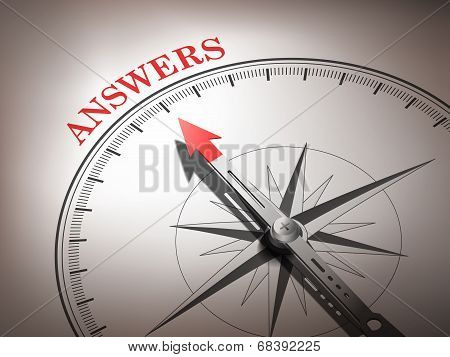 Abstract Compass Needle Pointing The Word Answers