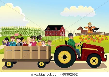 Kids Going On A Hayride In A Farm With Corn Fields In The Background