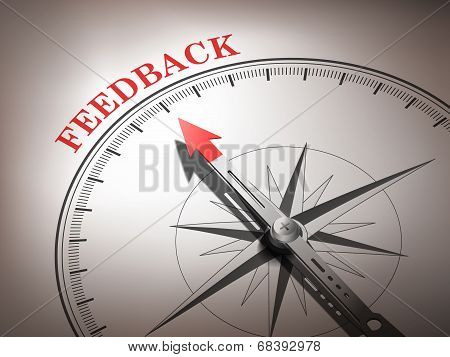 Abstract Compass Needle Pointing The Word Feedback