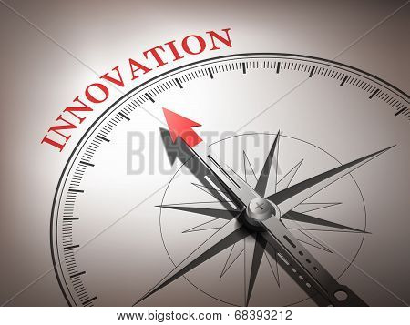 Abstract Compass Needle Pointing The Word Innovation
