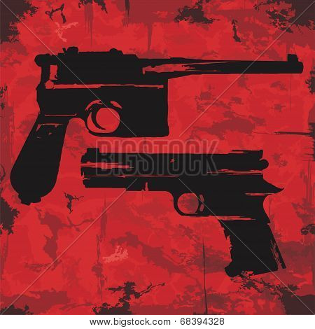 Vintage grunge guns graphic design. Vector