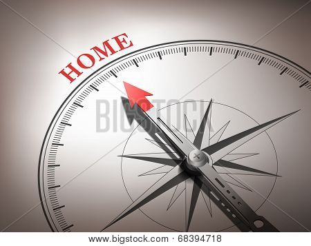 Abstract Compass Needle Pointing The Word Home