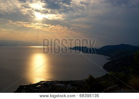 Gulf Of Corinth In The Evening Sun