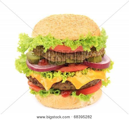 Appetizing cheeseburger.