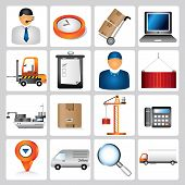 foto of supply chain  - set of 16 logistic icons - JPG