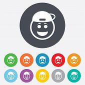 image of rapper  - Smile rapper face sign icon - JPG