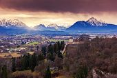 stock photo of mozart  - Fantastic view of the historic city of Salzburg - JPG