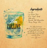 foto of collins  - Tom Collins cocktails drawn watercolor blots and stains with a spray - JPG