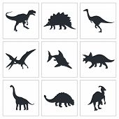 stock photo of dinosaurus  - Dinosaurs icon set on a black background - JPG
