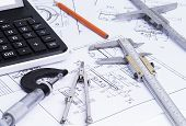 stock photo of micrometer  - The image shows engineering tools on technical drawings - JPG