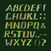 image of semi-colon  - Colorful Handwritten Chalk Alphabet on Dark Green Background - JPG