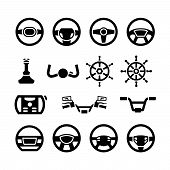 image of steers  - Set icons of steering wheel marine steering helm bicycle and motorcycle handlebar isolated on white - JPG