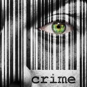 pic of superimpose  - Barcode with the word crime as concept superimposed on a man - JPG