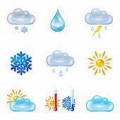 stock photo of freezing temperatures  - Set of glass weather icons isolated on white background illustration - JPG