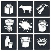 picture of husbandry  - Milk production icons set on a black background - JPG