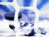 stock photo of ice hockey goal  - team sport goal scoring ice hockey action - JPG
