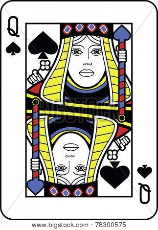Stylized Queen of Spades with strong outline