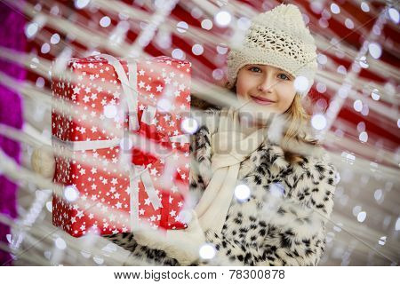 Merry Christmas, Christmas gift - girl with christmas present